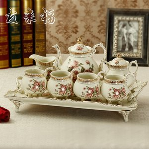 European and American style classic home ivory porcelain tea sets ceramic coffee cup red cup coffee pot tray package