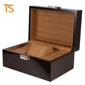 Scatola di orologi in legno di marca di alta qualità box orologi neri scatole regalo corona logo scatola di legno con carte brochure glitter lsl0130