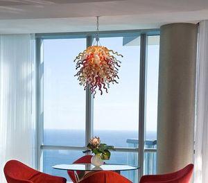 Italien Art Glass Pendelleuchten Tischdekoration Mittelstücke Twisted Glass Chain Kronleuchter 100% mundgeblasenem Glas LED Kronleuchter Leuchte