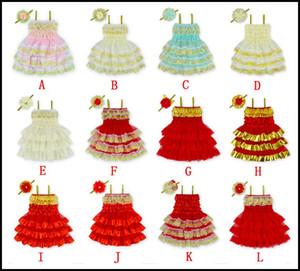 Prettybaby Meninas Natal Layered vestidos de renda bebê menina bonito vestido de verão cada jogo de uma engrenagem de cabeça perolada Crianças Xmas saia roupas Pt0051 #