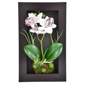 Décor à la maison 3d Simulation Plant Frame Fleurs Artificielles Orchid Arrangement Table Top Décoration Mur Monté Sculptures 3 Direction