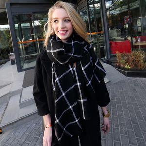 2016 viele Hersteller Großhandel Kaschmir Schal Schals neue Dame Frauen Decke schwarz weiß Plaid gemütliche Karo Tartan Schal Wraps Schal 298y