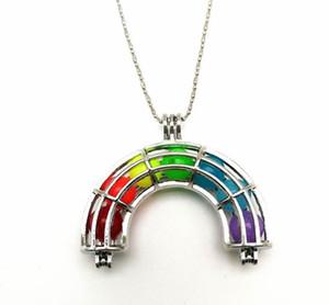 Rainbow Gaiolas Medalhão Pingente de Colar Pode Abrir Sete-colorido Bead Rainbow Magic Box Colar DIY Jóias Presente de Natal