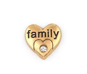 20 шт./лот позолоченные семья слово письмо Шарм, DIY сердце плавающей медальон подвески, пригодный для стекла жизни магнитный медальон