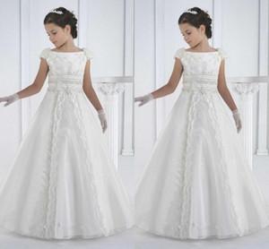 première communion robes sol longueur princesse blanc fleur fille robes filles blanc robes de communion robes de comunion