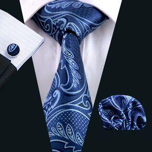 Paisely Tie Hankerchief Set Boutons de manchette jacquard tissé la cravate des hommes Ensemble bleu paisely travail Réunion d'affaires formelle Loisirs N-0635