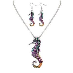Mode punk style 18KGP / 925 argent réaliste Drip Rainbowful mignon Sea Horse forme bijoux ensemble collier d'alliage boucles d'oreilles accessoires pour les femmes