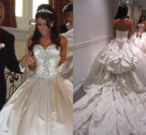 Vestido De Noiva 2016 Primavera Abiti da sposa Ball Gown Designer New Cristallo Sweetheart Backless Perle Ricamo Per Chiesa Abito Da Sposa