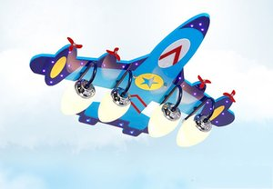 Lampada da soffitto in camera da letto della stanza del bambino della ragazza del ragazzo in camera soffitto di Cartoon Airplane Kid Luce Blu Legno LLFA