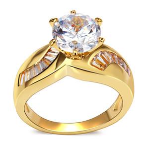 Casamento Anéis Mulheres Exclusivas Jóias 18k Banhado A Ouro Acessórios Para Mulher Bandas Anel Clássico para Mulher Hot Moda Anel de Alta Qualidade Jóias