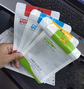 Zipper varejo saco de embalagens de plástico para samsung cabo usb pacote de varejo para iphone x 10 8 7 6 s 5 s carregador de dados cabos 8 * 14 cm 10 * 15 cm