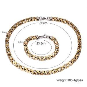 Установить браслет плоский мода нержавеющая две серебряные золотые стальные качество ожерелье византийская цепочка звена Unisex + High Tone ювелирные изделия 316L AMEDQ