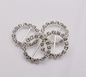 Heißer Verkauf! Runde Crystal Strass Ribbon Slider Buckles Hochzeitseinladungen dekorative 20mm (439)