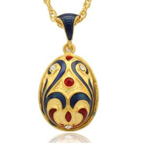 maquillaje facial en Beijing Opera Faberge Egg Charms Esmalte artesanal de cristal Huevo de Pascua Locket para Collar de estilo ruso