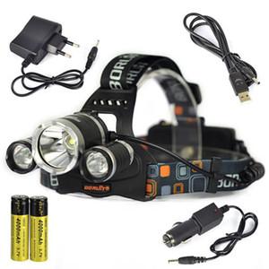 Boruc 6000lm 3x XM-L T6 LEVOU Stirnlampe Kopflampe 2x18650 Auto USB UE Ladegerät