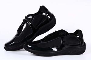 Diseñador italiano de los hombres zapatos casuales negros Patente de la moda con la zapatilla de deporte del deporte del zapato de la malla para los zapatos de la taza americana tamaño 39-46 tendencias Zapatos