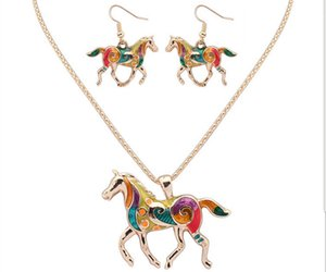 Animal Horse Pendant Necklace Enamel Rainbow Horse Charm Necklace Earring Sets Women Jewelry Silver Gold Plated Enamel Jewelry Set Gift