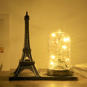 باريس برج ايفل الحرف مع مكتب ضوء الإبداعية تذكارية نموذج الجدول Miniaturas الحلي خمر تمثال ديكور المنزل