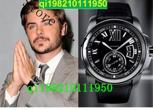 Usine vendeur Haute qualité bas prix-Classique Top Qualité Calibre De W7100014 Noir Cadran Mécanique Mens Montre Saphir Fermoir Fermoir Date