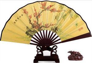 """Ventiladores de Casamento chinês Homens Mão 8 """"Grandes Fãs Dobráveis Retro Bun Deco De Bambu Wedding Tourism Guest Guest"""