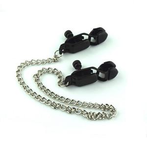 Productos para adultos Abrazaderas de pezón Juguetes de cadena sexual Abrazaderas de pezón negro sexy de acero inoxidable con almohadilla de gel de sílice JJD1817