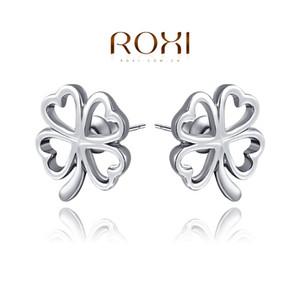 015 ROXI Livraison Gratuite Cadeau De Noël Trèfle À Quatre Feuilles Pour Les Femmes Brincos Grandes Couleur Argent Bijoux De Mode Bijoux