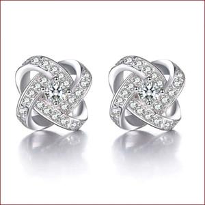 925 argent sterling articles cristal bijoux stud boucles d'oreilles en forme de mariage infini exquis vintage charmes fine