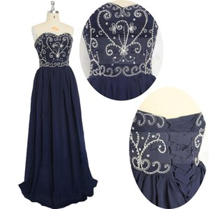 2015 navy blue bridesmaids formal dresses chiffon embroidery sweetheart cheap prom dressses under 100 In Stock