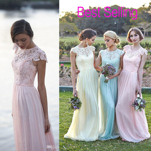 Lace Chiffon Maid of Honor Dresses real image Plus Size Cap Sleeve Pink Mint daffidol cheap Beach Bridesmaid Party Evening Gowns 2019 Custom