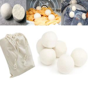 6 pçs / lote Bolas de Lã Secador Reduzir Rugas Reutilizável Natural Amaciante de Tecido Anti Estático Grande Felted Lã Orgânica Secador de Roupas Bola WX9-189