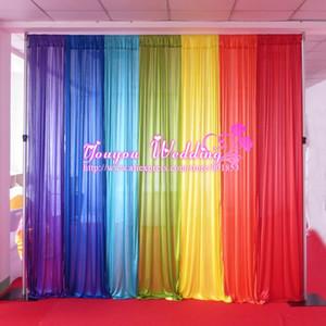 1PCS MOQ: 10FT W*10FT H 7 Color Rainbow Ice Silk Tube Curtain Backdrop For Wedding Use