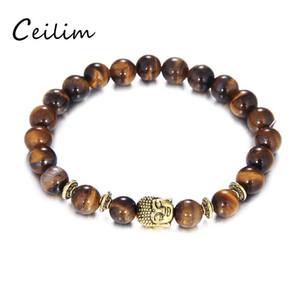 2017 8mm Tigerauge Perlen Armband Modeschmuck Großhandel Naturstein Mit Buddha Charme Stein Perlen Männer Armbänder Armreif Lion Leopar