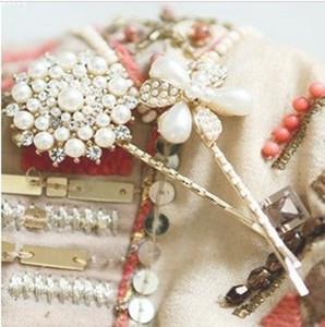 2015 Mode cheveux accessoires perle fleur ronde cheveux Barrettes bandeaux pour les femmes F053