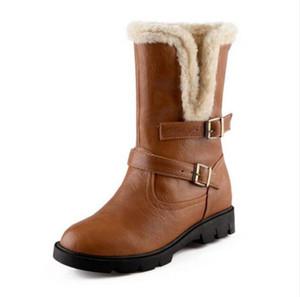 Taglia 34-43 Stivali tacco medio in pelle con tacco alto da donna Inverno caldo neve Botas mezza corta Gladiatore Calzature