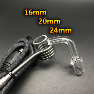 16mm 20mm 24mm Quartz Enail Banger With Hook Female Male 10mm 14mm 18mm Quartz E Nail Banger Nails For Coil Heater Glass Bongs