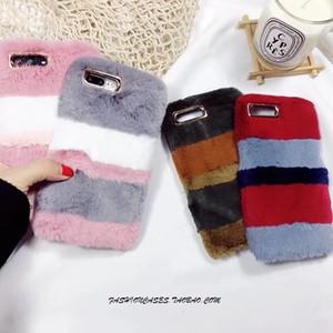 Toptan sıcak kürk case için iphone 7 8 plus x case lüks peluş kadife kış kadın silikon kapak için iphone 6 6 s artı 5