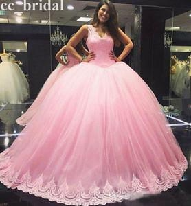 베이비 핑크 볼 가운 Quinceanera 드레스 2017 V 목 레이스 Appiques 15 년 동안 핸드 메이드 플러스 크기 가면 무도회 공식 예복 가운 미인 드레스