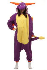 Unisex OnePiece Onesie Cosplay Costumes Kigurumi Animal Outfit Loungewear purple Dragon
