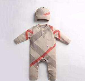 신생아 핫 판매 스웨터 장난 꾸러기 높은 품질의 면화 긴 소매 라운드 칼라 가을 romper + 모자 0-2T를 등반 아기 아이 가을