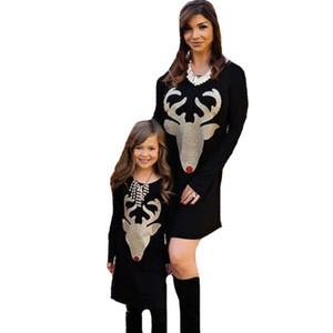 Mutter und Tochter Kleidung Herbst Weihnachten Hirsch Muster passende Familie Outfits Geweih Langarm Mutter Tochter Kleider Mama und ich