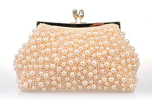 Neue Art- und Weisezwei Ketten-Frauen-Perlen-Abend-Beutel-Kupplung Herrliche Brauthochzeits-Parteihandtasche Freies Verschiffen