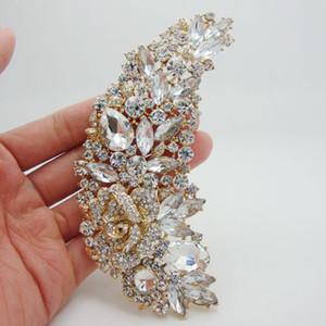 Al por mayor-moda elegante dama de honor nupcial clara Rhinestone Crystal Rose flor arte Nouveau Brooch Pin