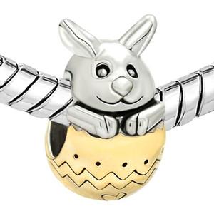 Gümüş Renk Ve Altın Kaplama Tavşan Bunny Altın Paskalya Yumurta Boncuk Charms Fit Pandora Bilezik