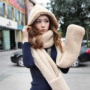 Оптово-зима Шарф Hat Glove наборы Женщина Шерсть тепло даже один HAT шарфов утолщенного фестиваля шапочки сомбреро женщины 7color M216