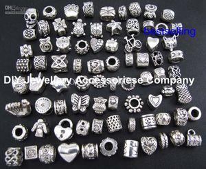 100 pcs contas encantos mix 29 estilo big hole solta pérolas charme para pandora diy pulseira jóias para europeu