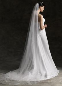 Largo de la catedral Velo largo para bodas 3 m Blanco / Marfil Tul Talla Recortar Vestidos de novia de una capa Vintage Champagne Velos de novia