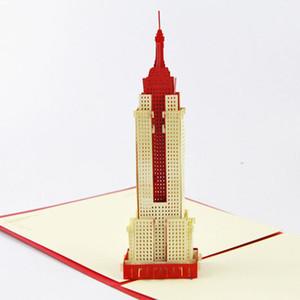 Biglietto augurale biglietto di auguri 3D stereoscopico Living Cube USA Empire State Building biglietto di auguri americano creativo 2015 Biglietto di auguri 3D 3D a mano