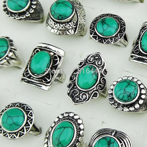 Big Promotion 2017 New Arrival 10pcs Vintage Green Turquoise Stones Antique Silver Women Mens Rings Wholesale Jewelry Lots A-143