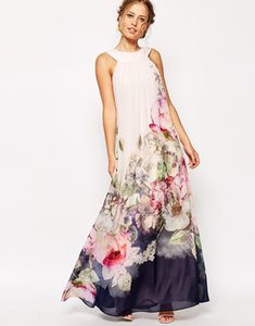 Printed flowers evening dresses Summer floral printed long chiffon dress Sexy maxi party evening dresses for womens 2015