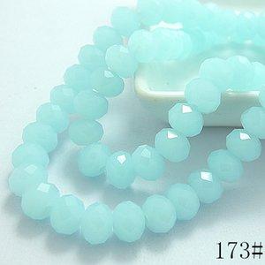 Wholesale-Wholesale 40pcs 8mm Rondelle Faceted Crystal Jade Porcelain Glass Loose Spacer  Light Sky Blue Jade